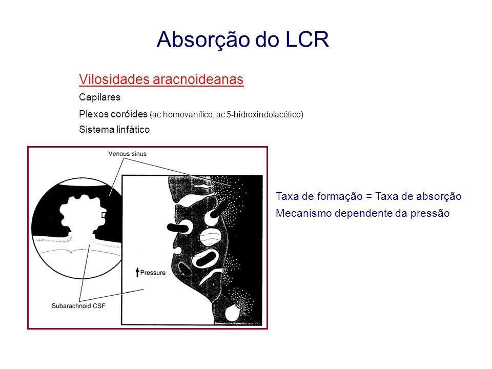 Absorção do LCR Vilosidades aracnoideanas