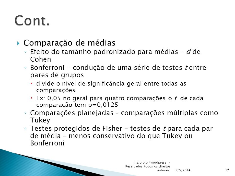 Cont. Comparação de médias