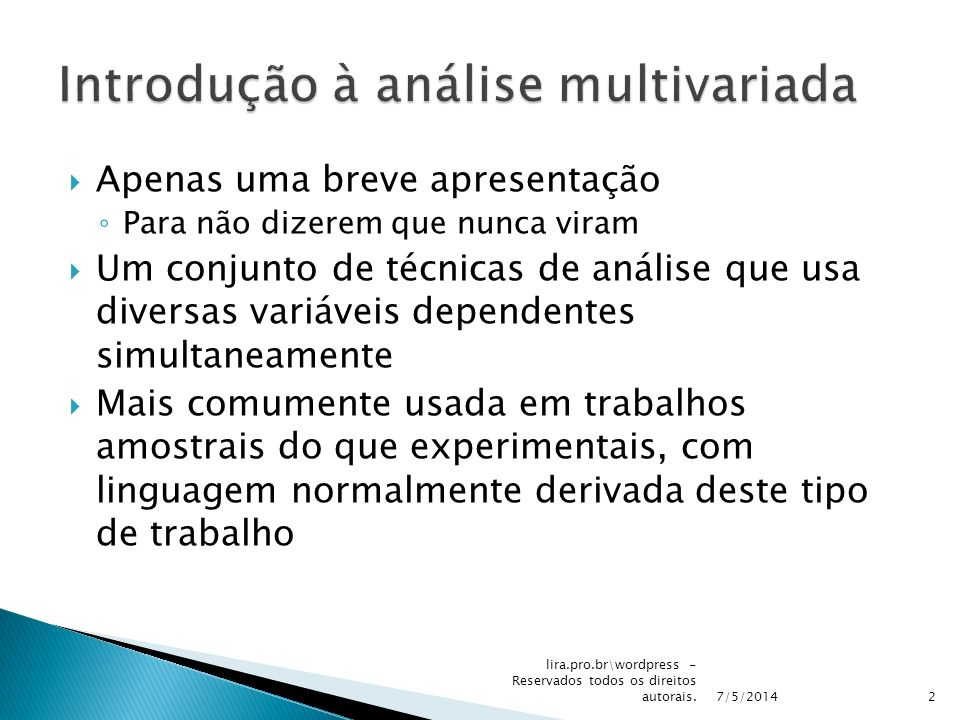 Introdução à análise multivariada
