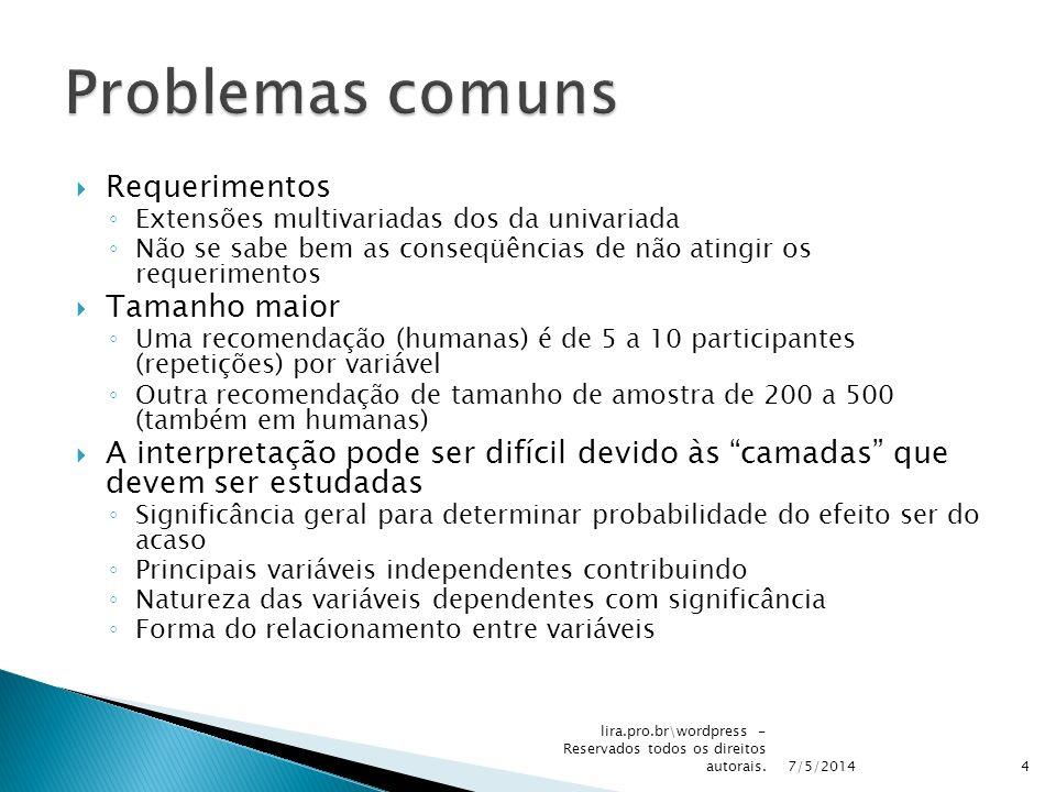 Problemas comuns Requerimentos Tamanho maior