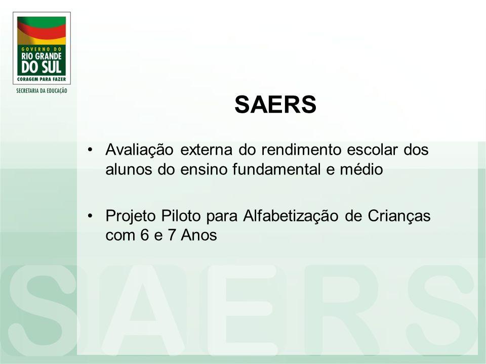 SAERS Avaliação externa do rendimento escolar dos alunos do ensino fundamental e médio.