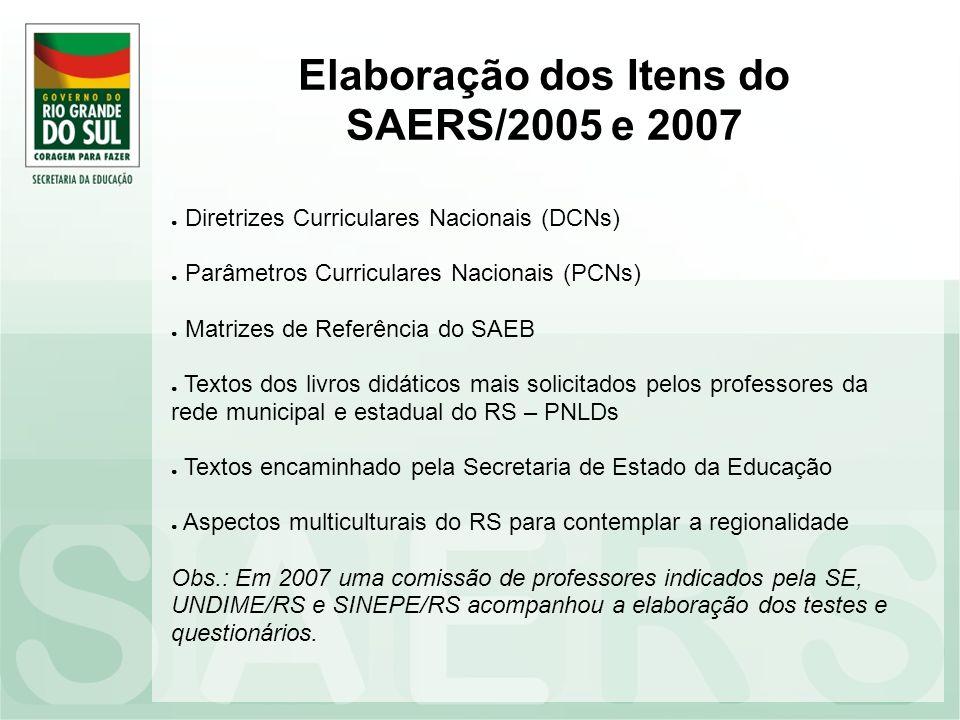 Elaboração dos Itens do SAERS/2005 e 2007