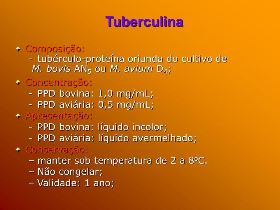 Tuberculina Composição: tubérculo-proteína oriunda do cultivo de
