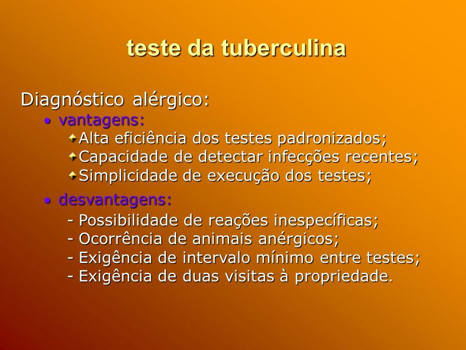 teste da tuberculina Diagnóstico alérgico: vantagens: