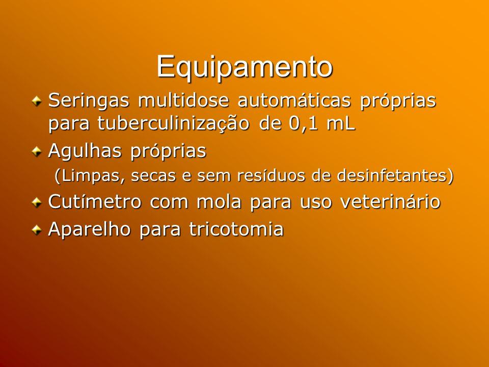Equipamento Seringas multidose automáticas próprias para tuberculinização de 0,1 mL. Agulhas próprias.