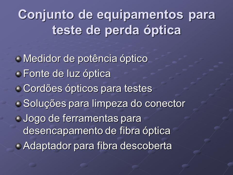 Conjunto de equipamentos para teste de perda óptica