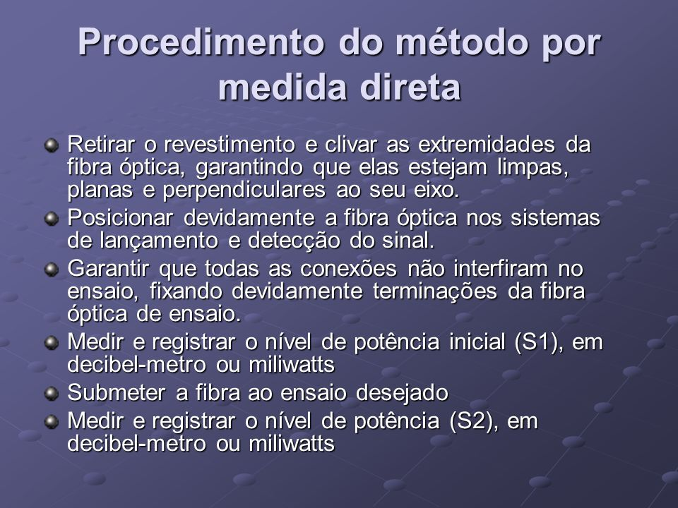 Procedimento do método por medida direta