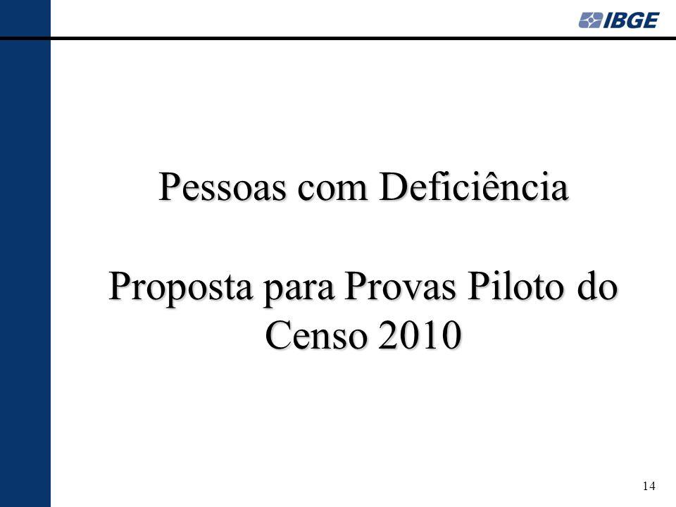 Pessoas com Deficiência Proposta para Provas Piloto do Censo 2010