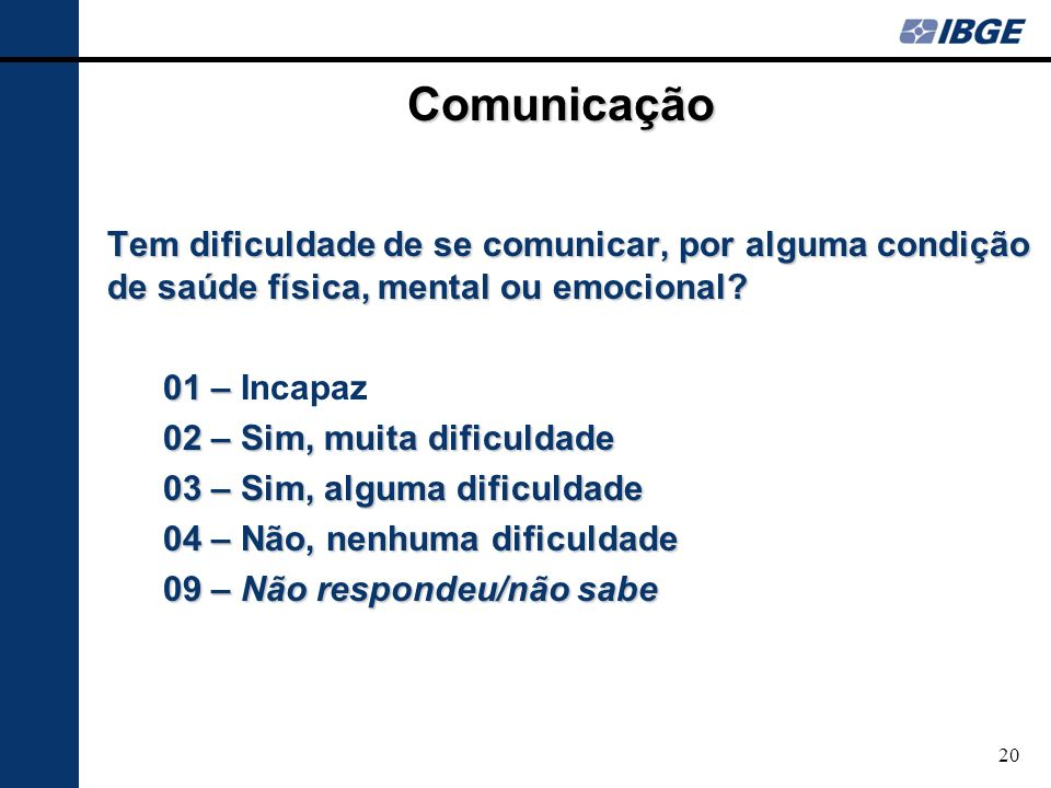 Comunicação Tem dificuldade de se comunicar, por alguma condição de saúde física, mental ou emocional