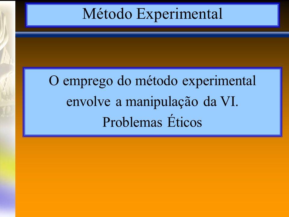 O emprego do método experimental envolve a manipulação da VI.