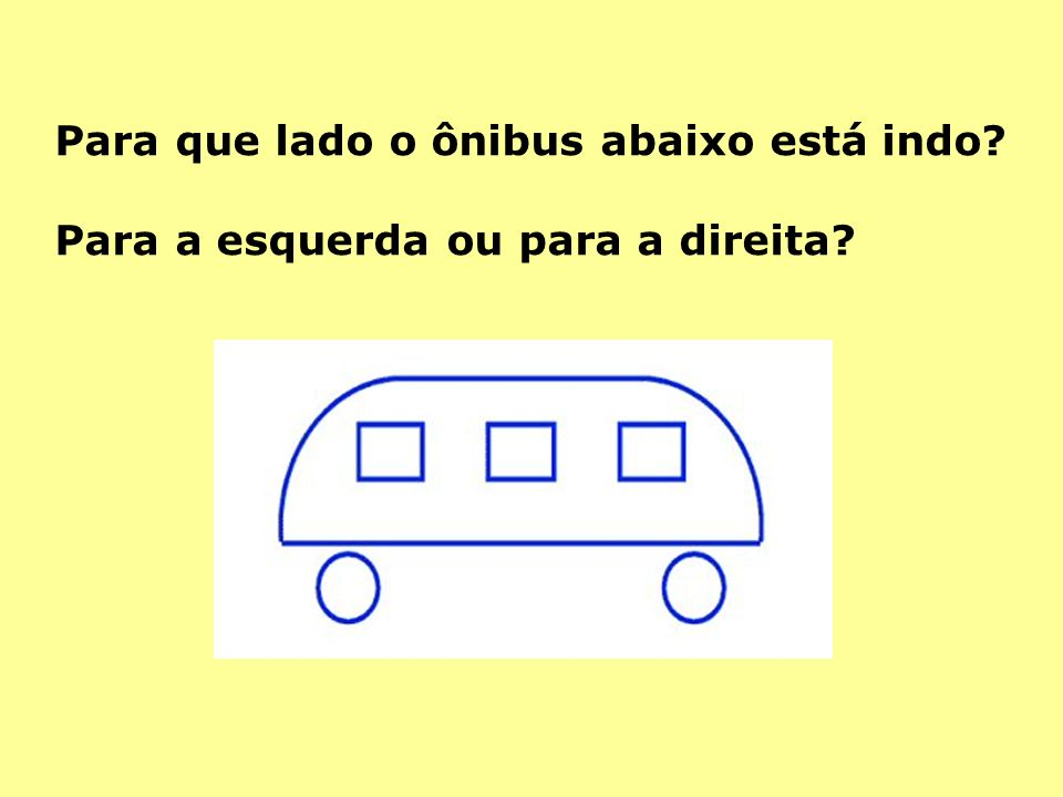 Para que lado o ônibus abaixo está indo