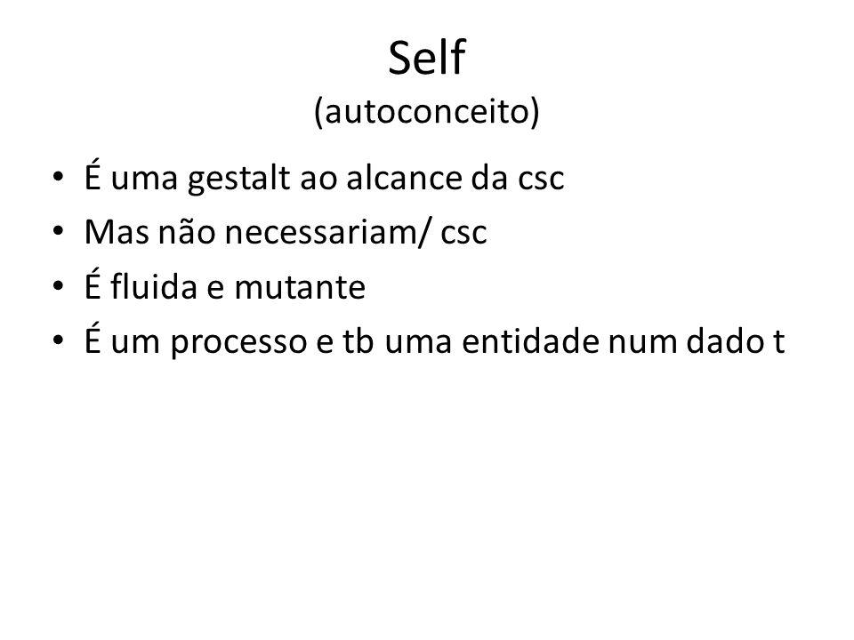 Self (autoconceito) É uma gestalt ao alcance da csc