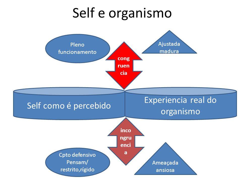 Self e organismo Experiencia real do organismo Self como é percebido