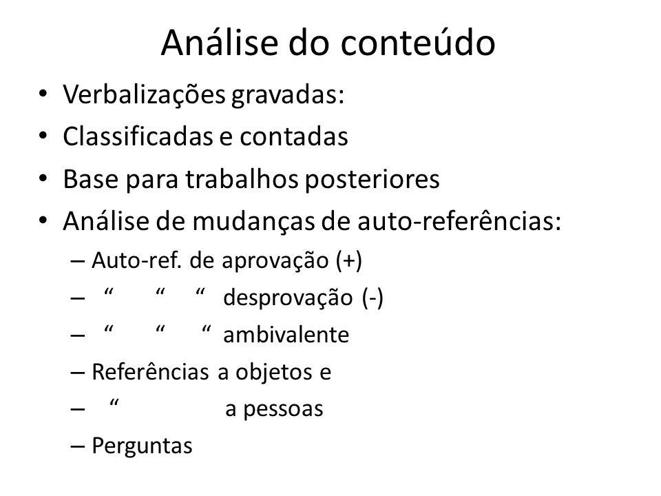 Análise do conteúdo Verbalizações gravadas: Classificadas e contadas