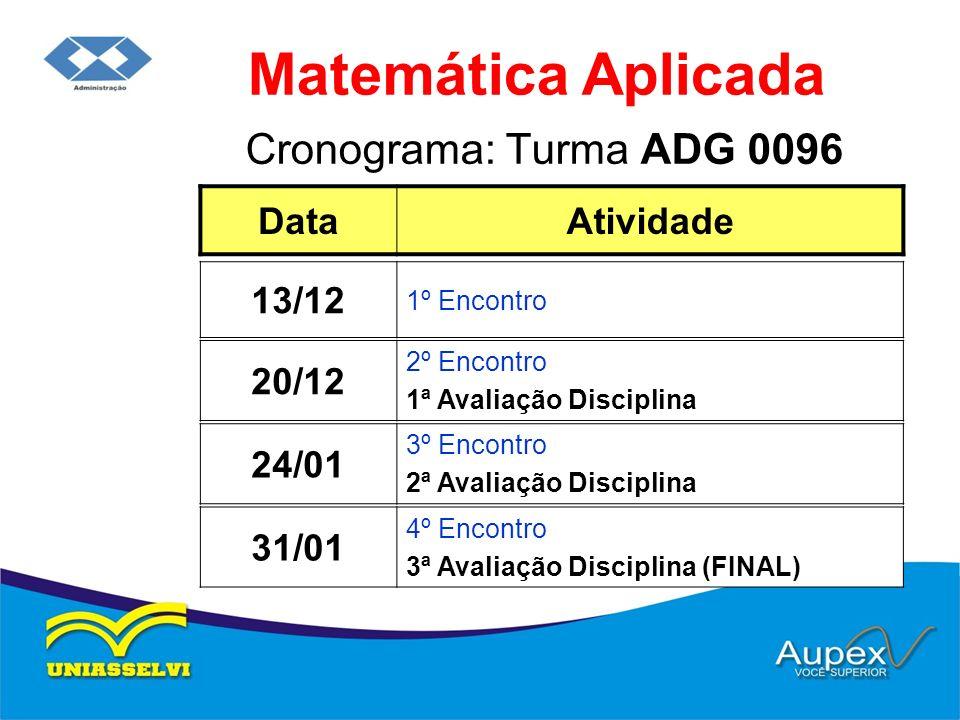 Matemática Aplicada Cronograma: Turma ADG 0096 Data Atividade 13/12