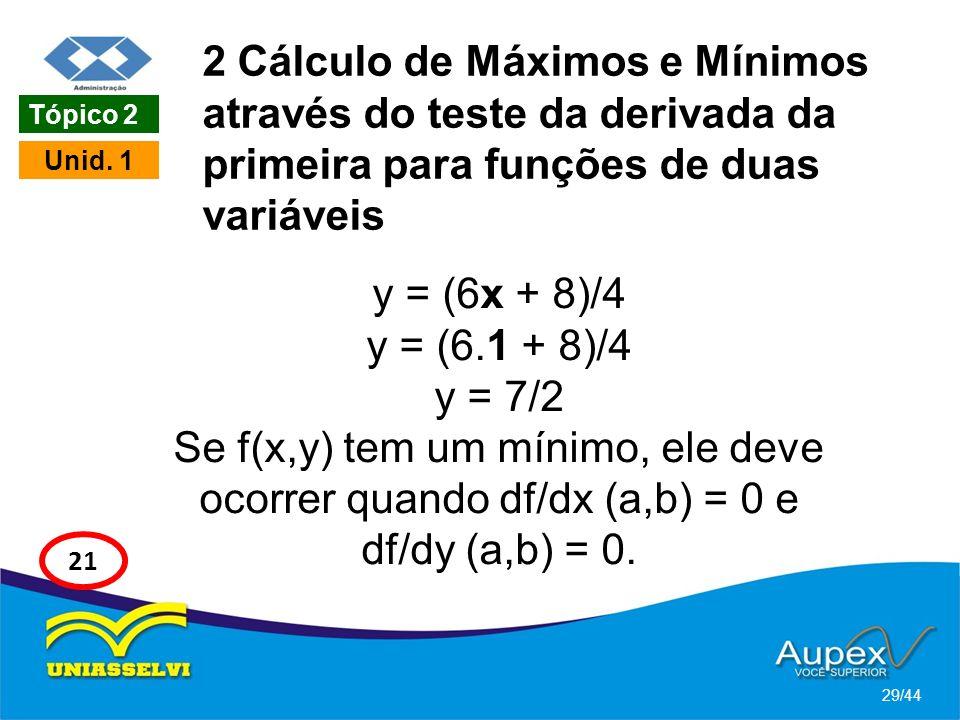 2 Cálculo de Máximos e Mínimos através do teste da derivada da primeira para funções de duas variáveis
