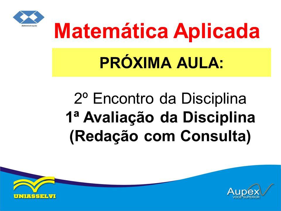 Matemática Aplicada PRÓXIMA AULA: