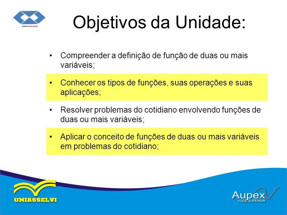 Objetivos da Unidade: Compreender a definição de função de duas ou mais variáveis; Conhecer os tipos de funções, suas operações e suas aplicações;