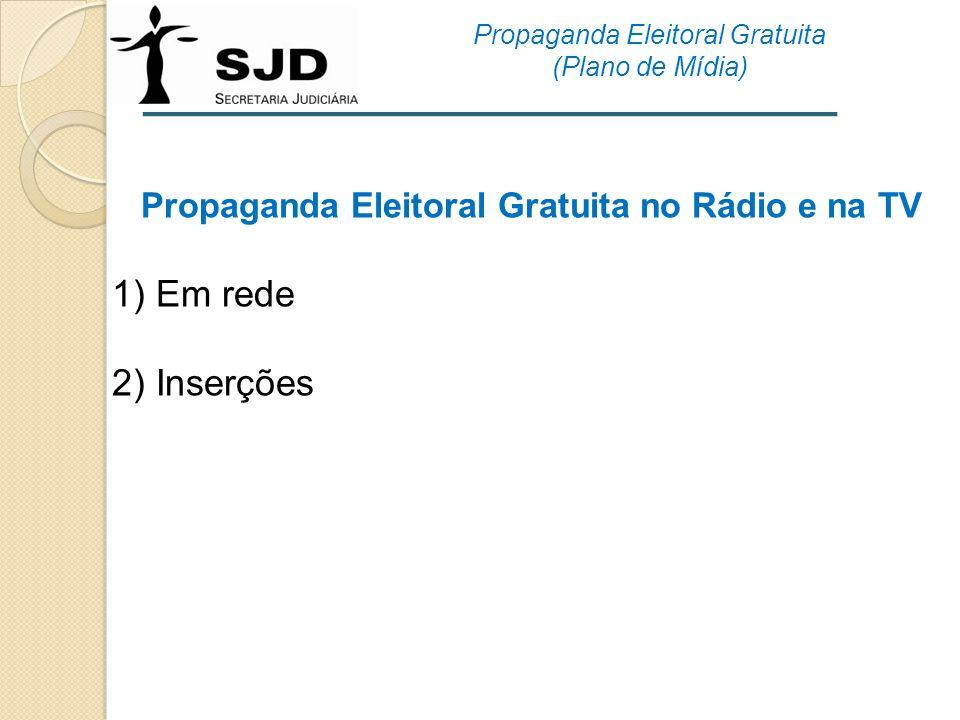 1) Em rede 2) Inserções Propaganda Eleitoral Gratuita no Rádio e na TV