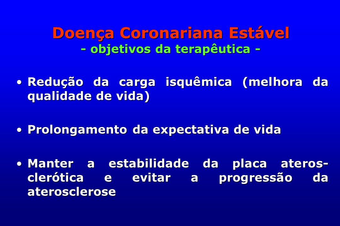 Doença Coronariana Estável - objetivos da terapêutica -