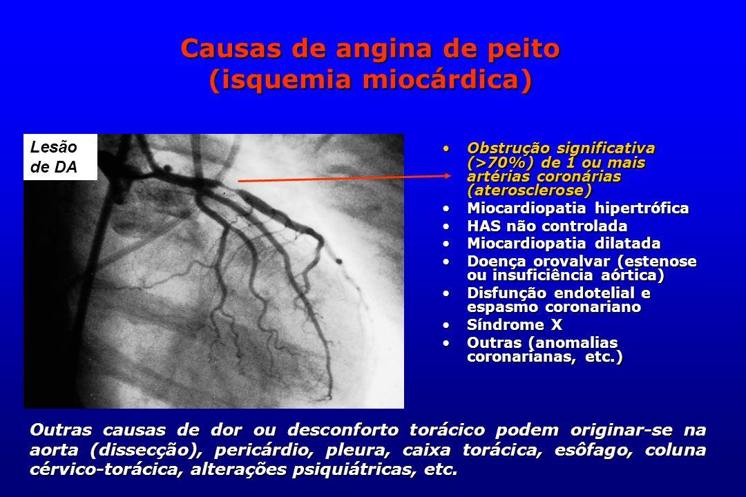 Causas de angina de peito (isquemia miocárdica)