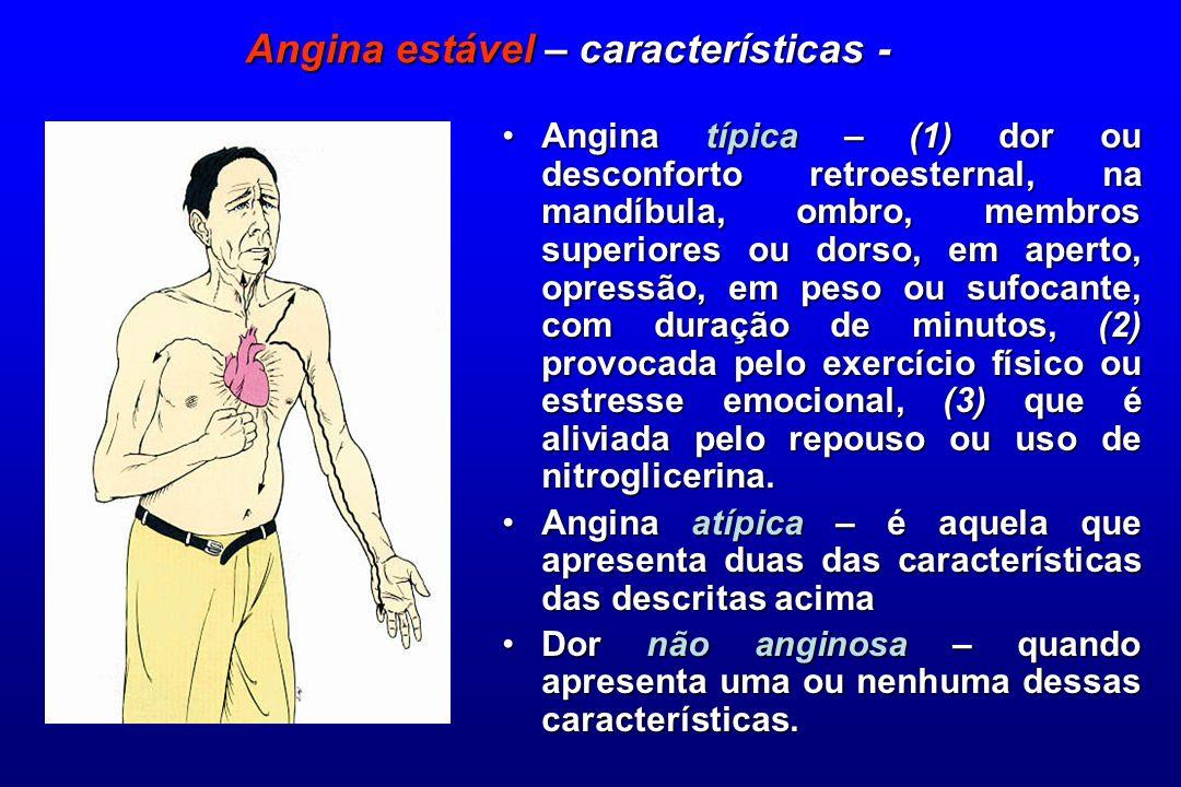Angina estável – características -
