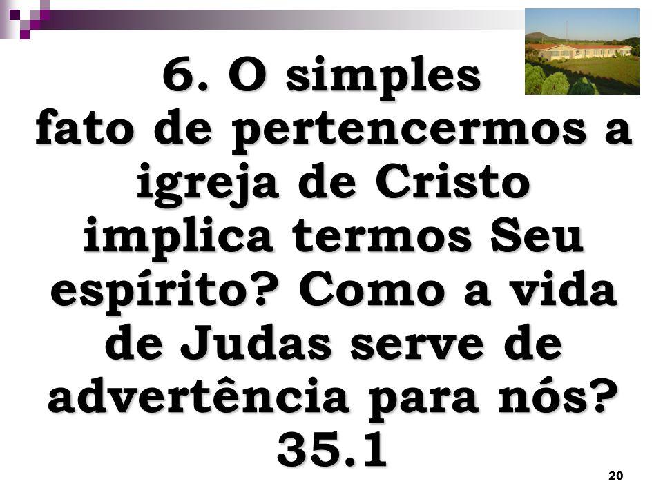 6. O simples fato de pertencermos a igreja de Cristo implica termos Seu espírito.