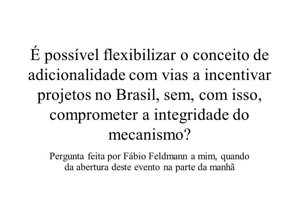 É possível flexibilizar o conceito de adicionalidade com vias a incentivar projetos no Brasil, sem, com isso, comprometer a integridade do mecanismo
