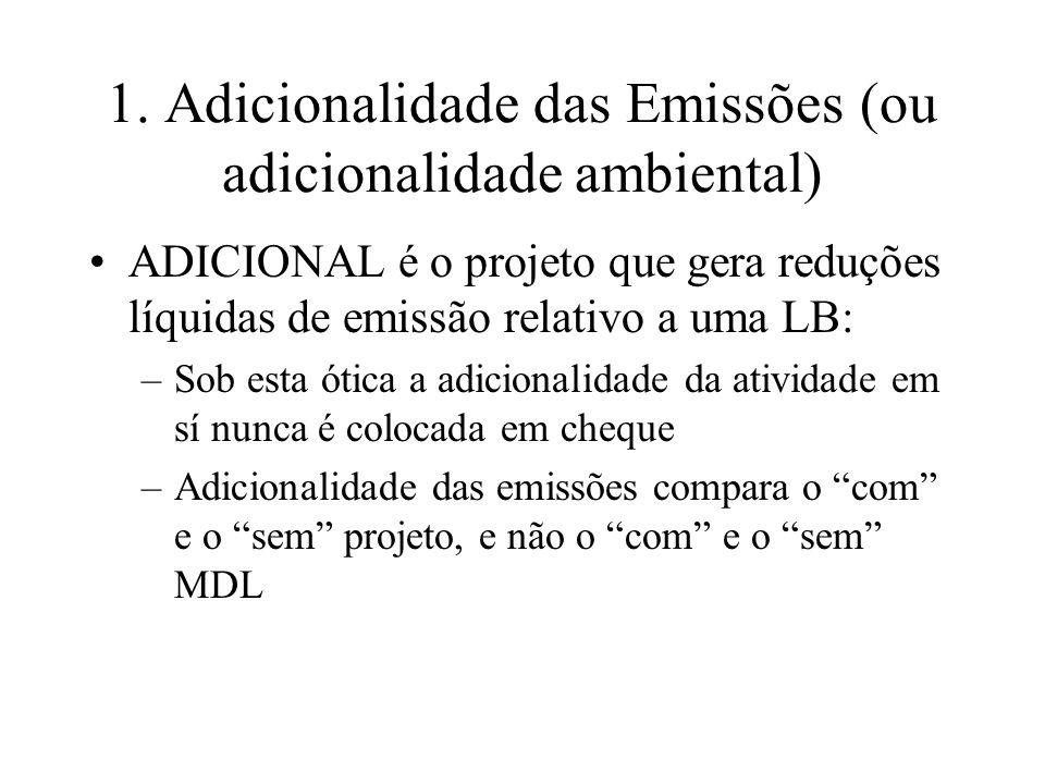 1. Adicionalidade das Emissões (ou adicionalidade ambiental)