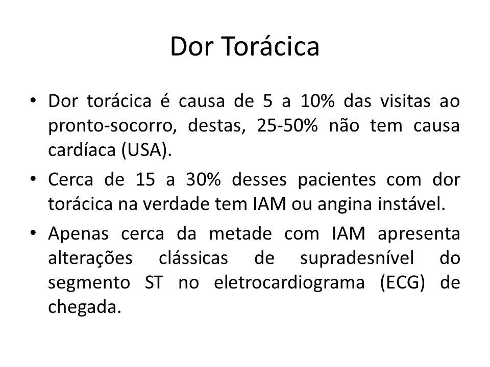 Dor Torácica Dor torácica é causa de 5 a 10% das visitas ao pronto-socorro, destas, 25-50% não tem causa cardíaca (USA).