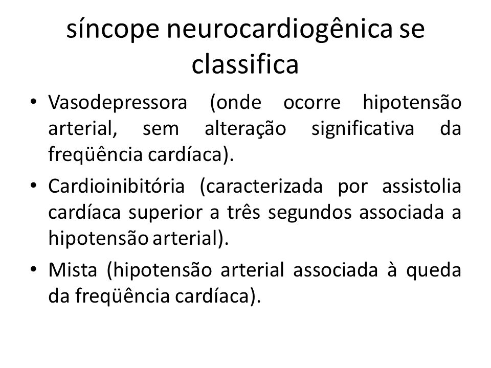 síncope neurocardiogênica se classifica