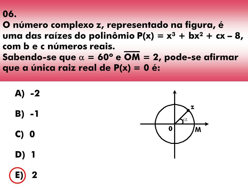 06. O número complexo z, representado na figura, é uma das raízes do polinômio P(x) = x3 + bx2 + cx – 8, com b e c números reais. Sabendo-se que  = 60º e OM = 2, pode-se afirmar que a única raiz real de P(x) = 0 é: