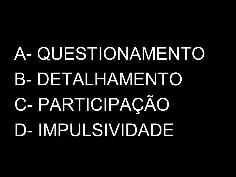 A- QUESTIONAMENTO B- DETALHAMENTO C- PARTICIPAÇÃO D- IMPULSIVIDADE