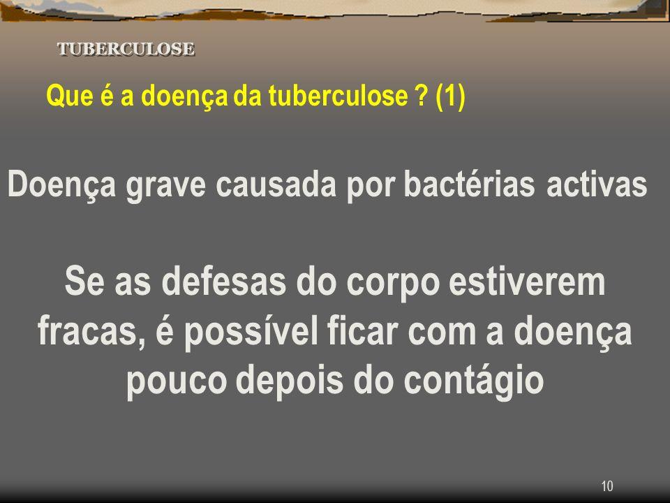 Tuberculose TUBERCULOSE. Que é a doença da tuberculose (1) Doença grave causada por bactérias activas.