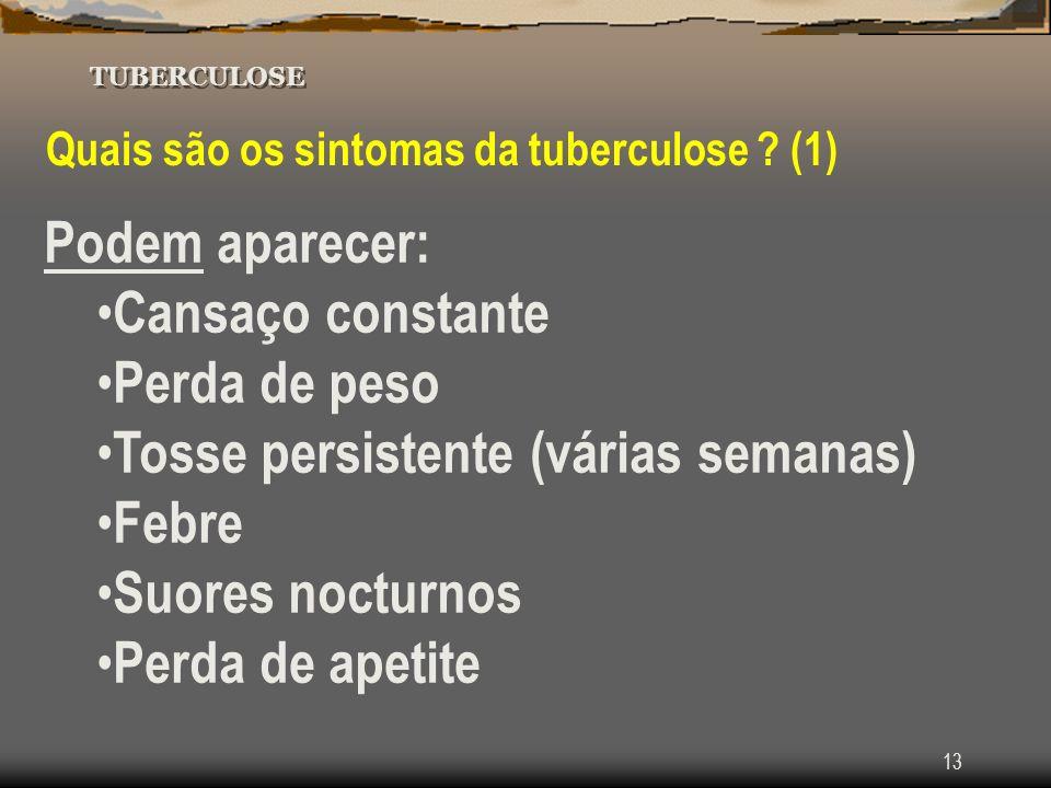 Tosse persistente (várias semanas) Febre Suores nocturnos