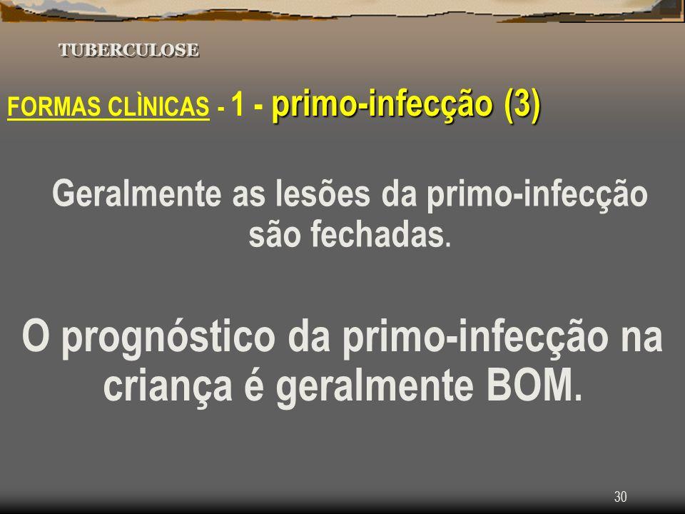 O prognóstico da primo-infecção na criança é geralmente BOM.