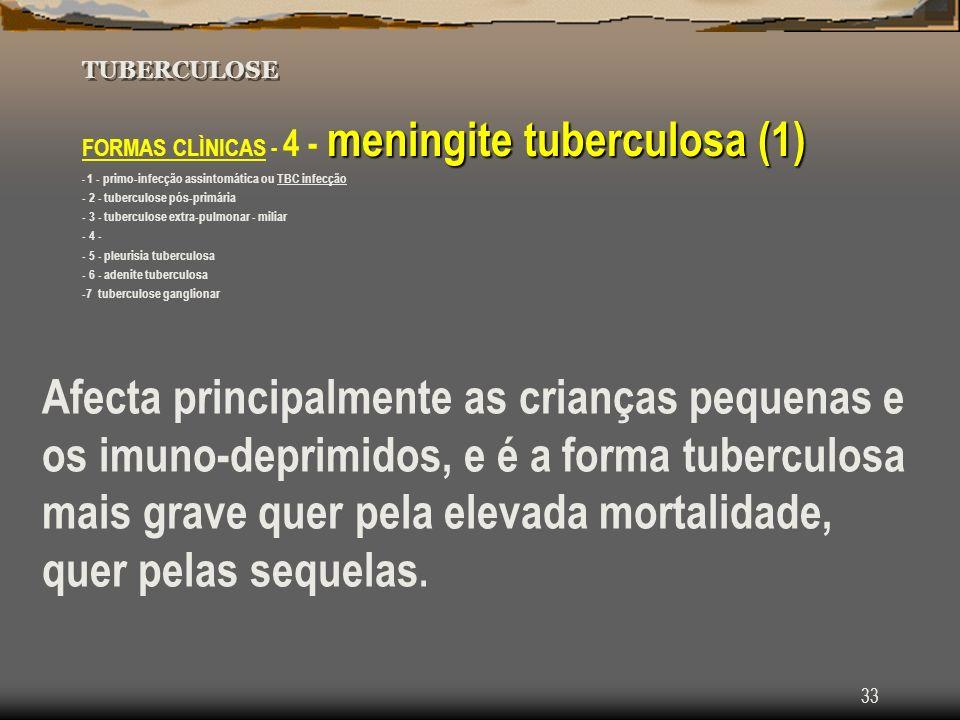 Tuberculose TUBERCULOSE. FORMAS CLÌNICAS - 4 - meningite tuberculosa (1) - 1 - primo-infecção assintomática ou TBC infecção.