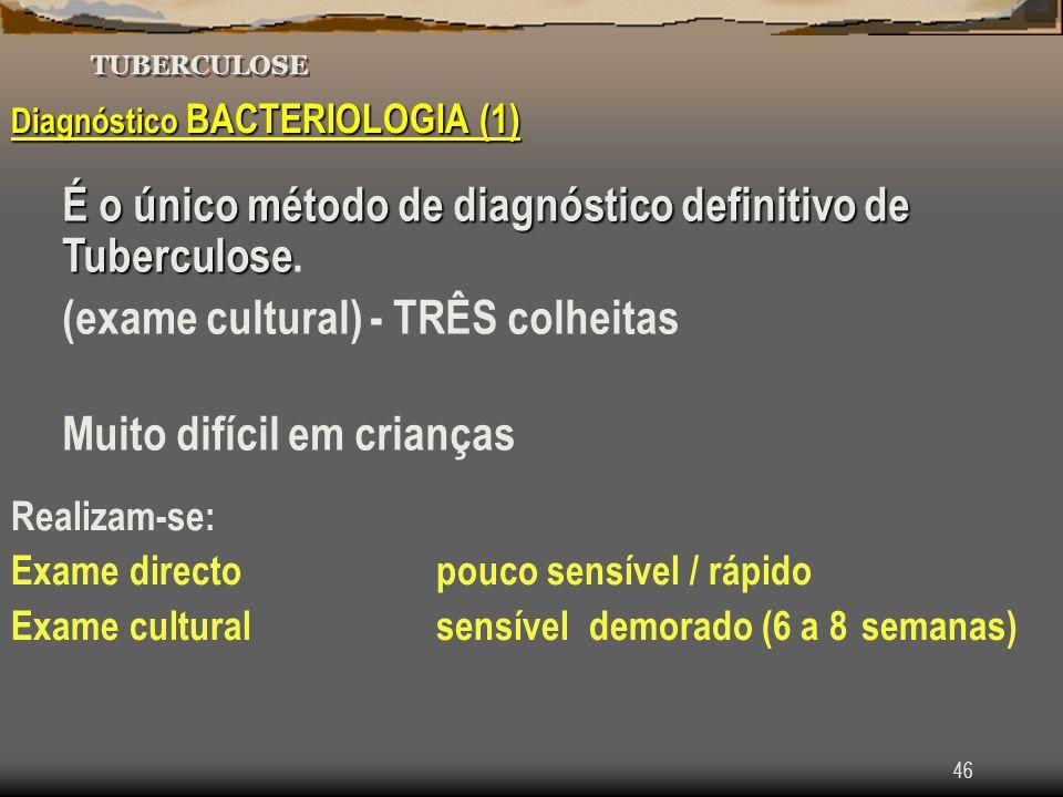 É o único método de diagnóstico definitivo de Tuberculose.