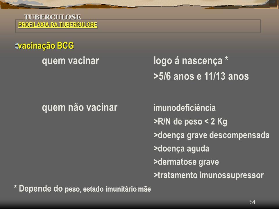 >5/6 anos e 11/13 anos vacinação BCG >R/N de peso < 2 Kg