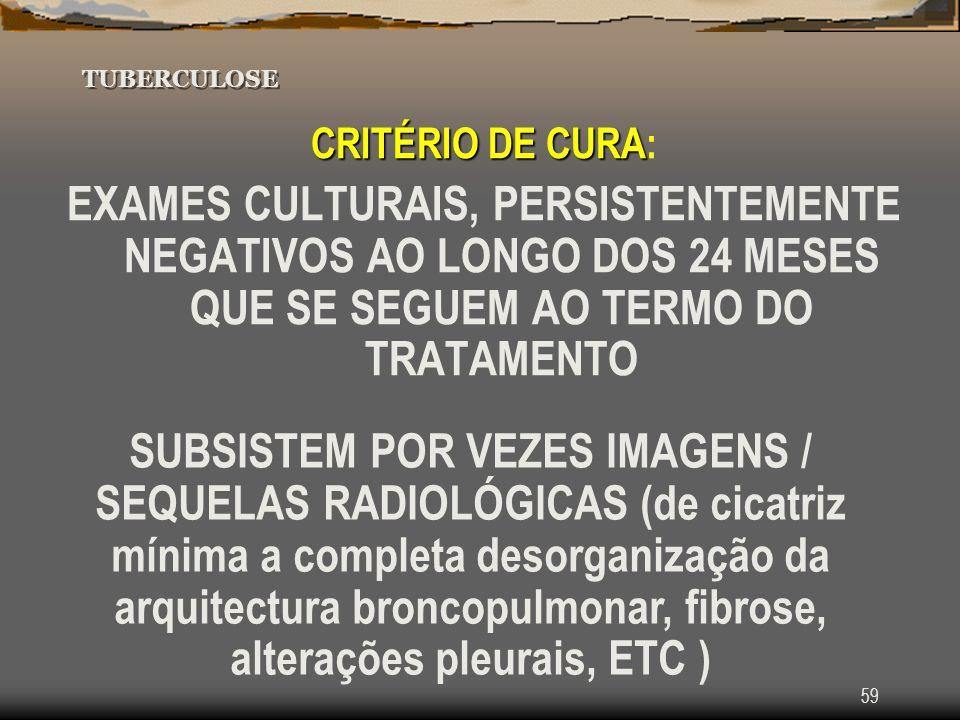 Tuberculose TUBERCULOSE. CRITÉRIO DE CURA: EXAMES CULTURAIS, PERSISTENTEMENTE NEGATIVOS AO LONGO DOS 24 MESES QUE SE SEGUEM AO TERMO DO TRATAMENTO.
