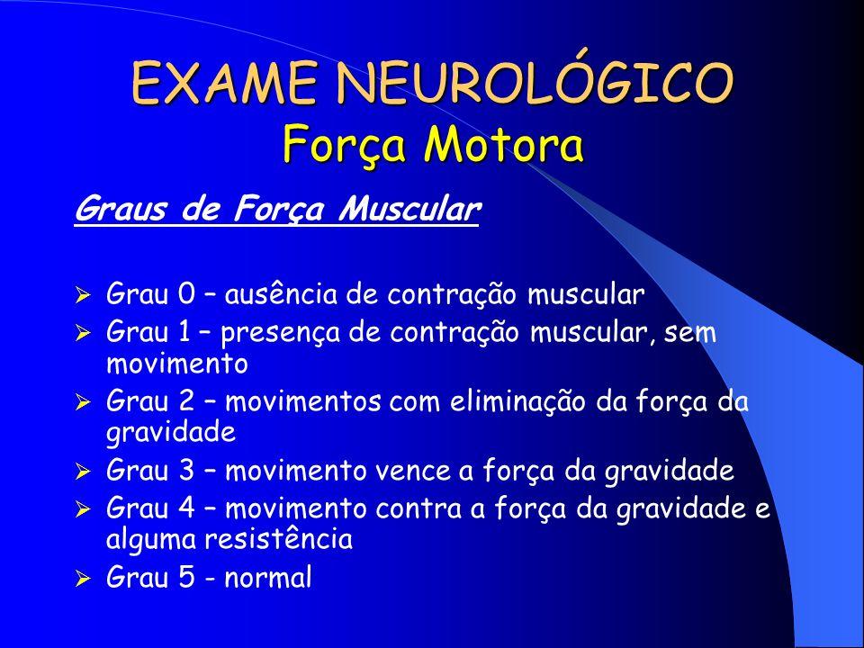 EXAME NEUROLÓGICO Força Motora
