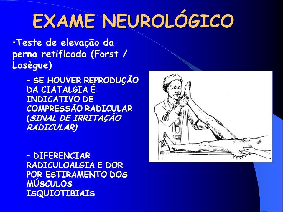 EXAME NEUROLÓGICO Teste de elevação da perna retificada (Forst / Lasègue)