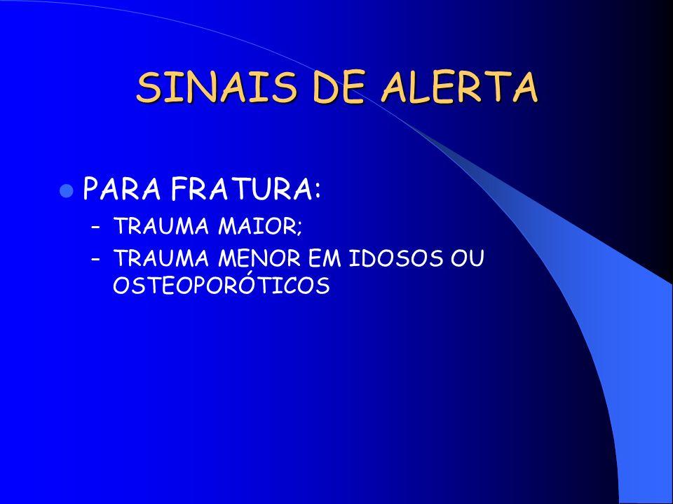 SINAIS DE ALERTA PARA FRATURA: TRAUMA MAIOR;