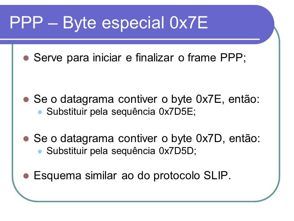 PPP – Byte especial 0x7E Serve para iniciar e finalizar o frame PPP;