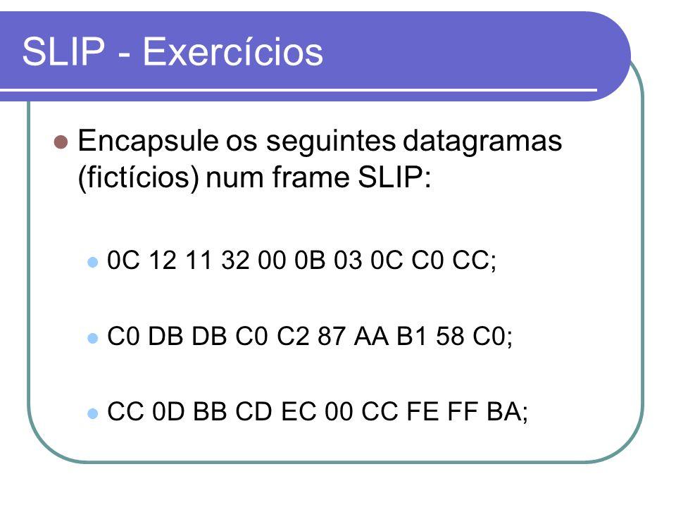 SLIP - Exercícios Encapsule os seguintes datagramas (fictícios) num frame SLIP: 0C 12 11 32 00 0B 03 0C C0 CC;