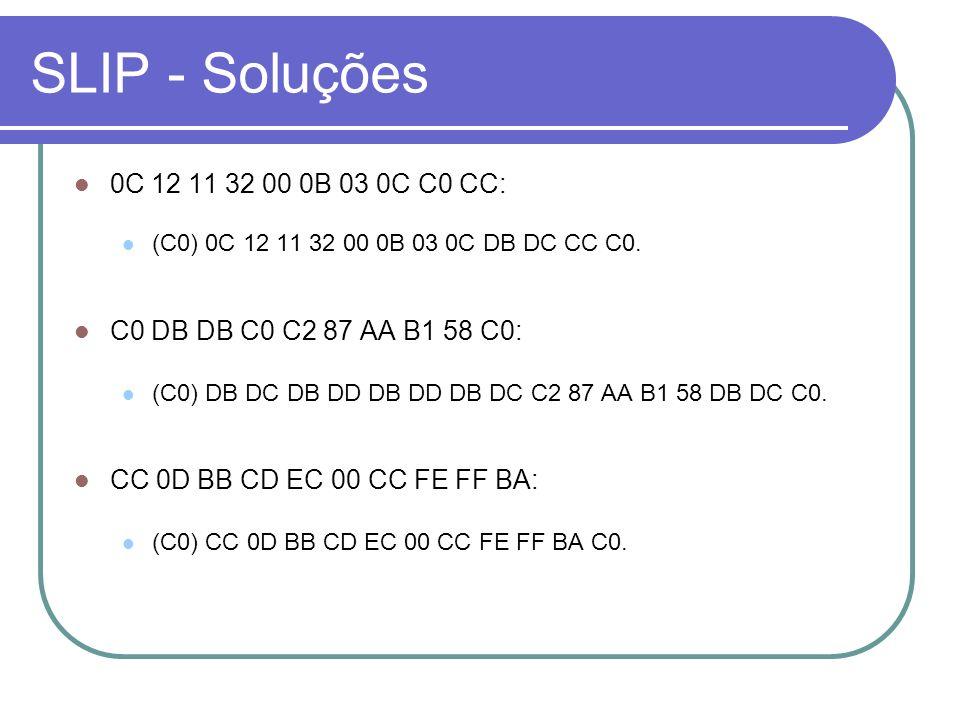 SLIP - Soluções 0C 12 11 32 00 0B 03 0C C0 CC: