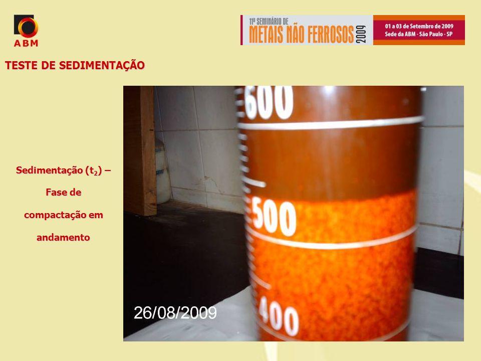 Sedimentação (t2) – Fase de compactação em andamento