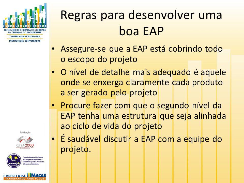 Regras para desenvolver uma boa EAP