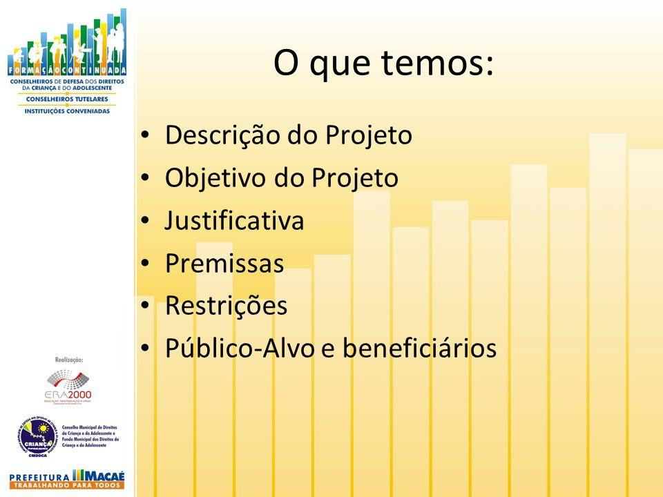 O que temos: Descrição do Projeto Objetivo do Projeto Justificativa