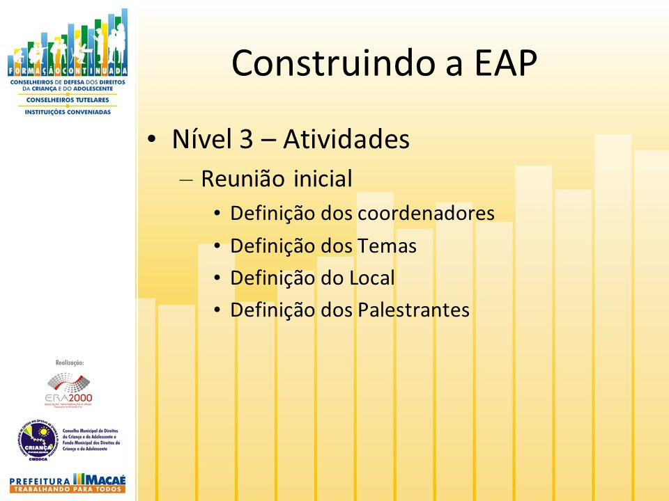 Construindo a EAP Nível 3 – Atividades Reunião inicial